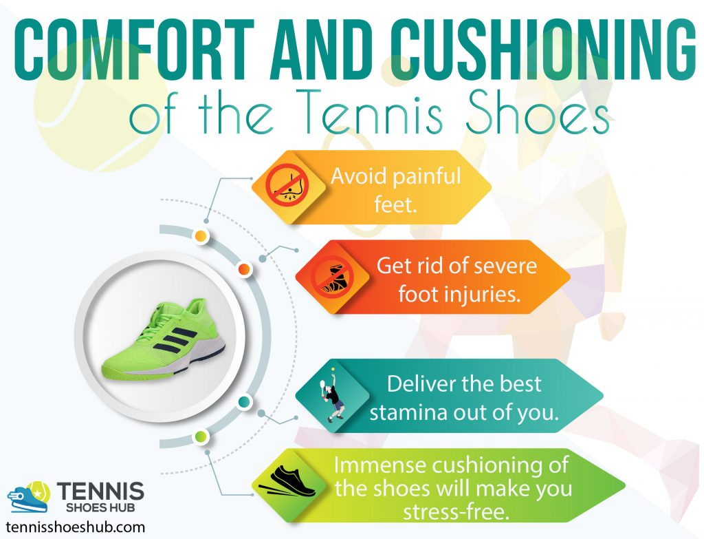 Comfort and Cushioning of the tennis shoes